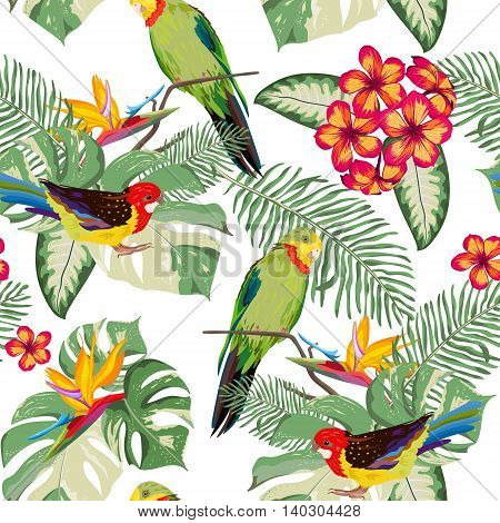 Tropical seamless pattern. Leaves flowers and parrots. Beautiful background with exotic nature. Vector illustration.