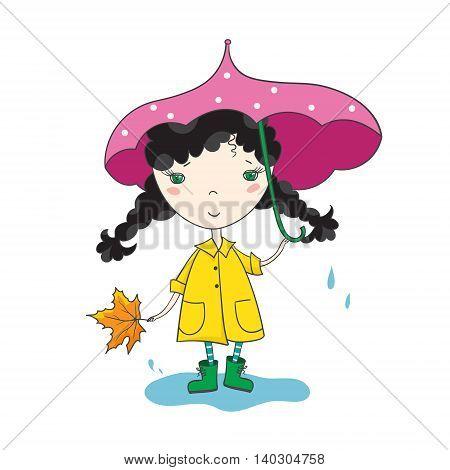 Sweet girl in a raincoat and an umbrella. Autumn season. Hand-drowing vector illustration.