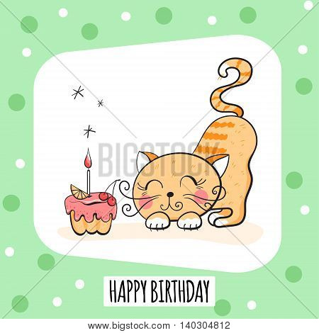 Vector illustration with cute cat and cake with candle. Happy Birthday card design greeting card postcard poster.