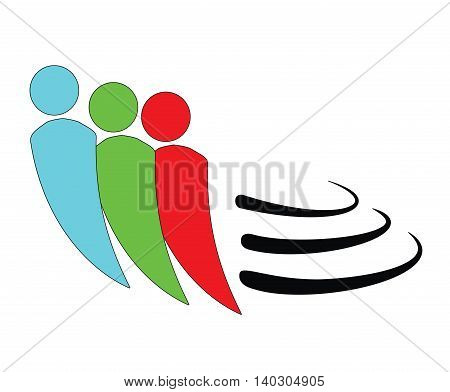 running people in the background. logo. symbol. vector illustration