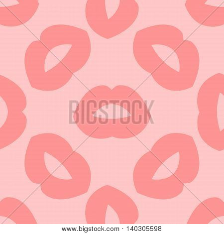Seamless background with lips prints. Vector illustration