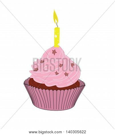 cupcakes with a candle in the background. vector illustration