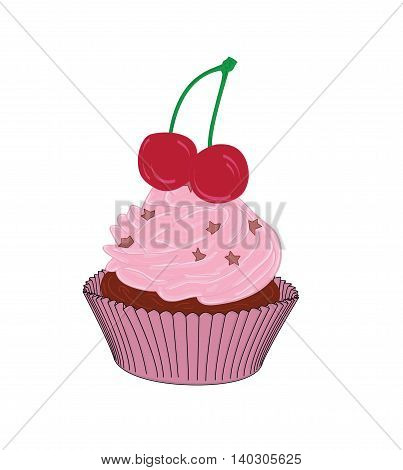 cupcakes with cherries in the background. vector illustration