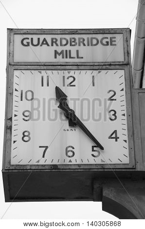 A view of the old paper mill clock at Guardbridge