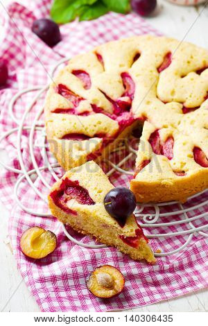 homemade plum cake . rustic style.selective focus