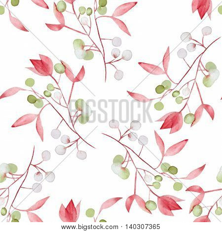 Seamless floral pattern with the watercolor red leaves on the branches and green berries (Mistletoe), hand drawn on a white background