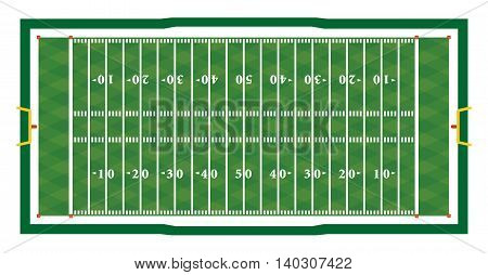 Realistic American Football Field Illustration
