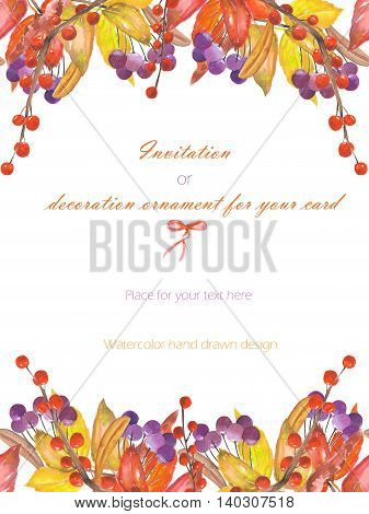 Background, template postcard with a floral ornament of the watercolor red autumn leaves on the branches and viburnum berries, hand drawn on a white background