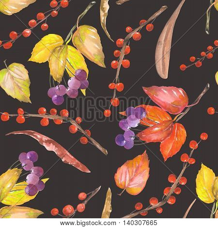 A seamless pattern with a floral ornament of the watercolor forest elements: red and yellow autumn leaves on the branches, berries on the twigs, hand drawn on a black background