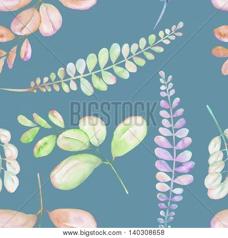 Seamless floral pattern with the abstract watercolor purple, pink and green branches, hand drawn on a blue background