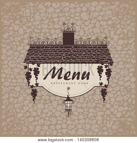 banner for menu with the old roof lantern and grapes on a stone wall background