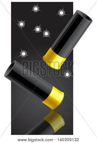 Falling sleeves after a shot on a dark background. Vector illustration