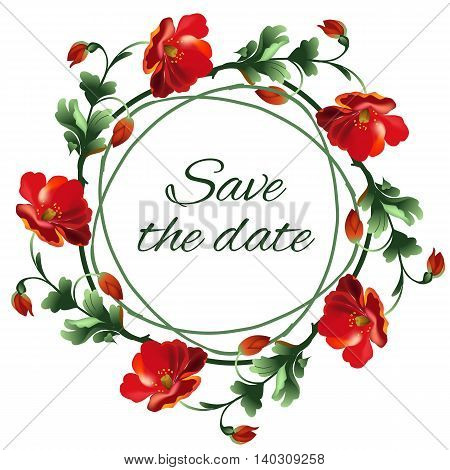 Roses wedding wreath post card. Save the date poster. Vector illustration.