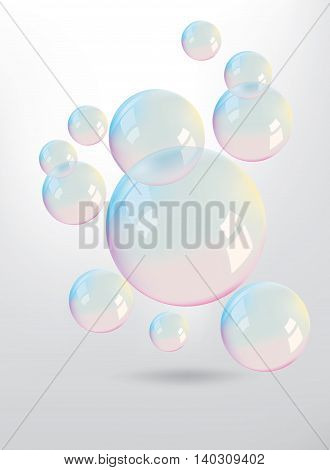 Beautiful colors reflection on the bubbles floating in the air