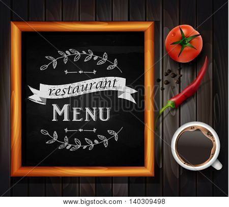 Menu on Chalkboard background with hand drawn ornament for restaurant in wooden frame on wooden background with two tomatos coffee and chili pepper