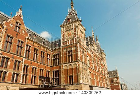 Amsterdam the Netherlands-July 23 2016 : The Amsterdalm Central station is the largest station and a major national railway hub.It is one of the most visited national heritage sites of the Netherlands.