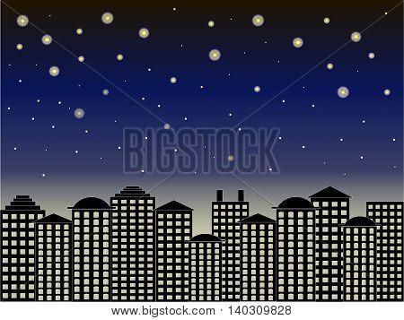 City series background. Black buildings, dark blue sky, starry night, vector illustration