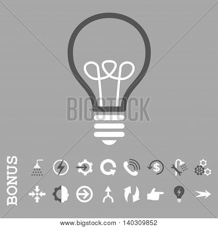 Lamp Bulb glyph bicolor icon. Image style is a flat iconic symbol, dark gray and white colors, silver background.