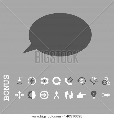 Message Cloud glyph bicolor icon. Image style is a flat iconic symbol, dark gray and white colors, silver background.
