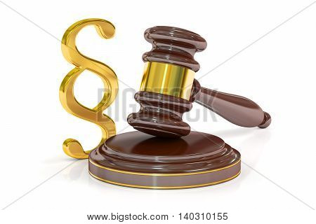Paragraph Law Symbol And Judge Gavel 3D rendering isolated on white background