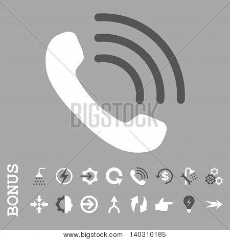 Phone Call glyph bicolor icon. Image style is a flat pictogram symbol, dark gray and white colors, silver background.