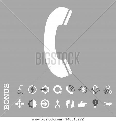 Phone Receiver glyph bicolor icon. Image style is a flat pictogram symbol, dark gray and white colors, silver background.