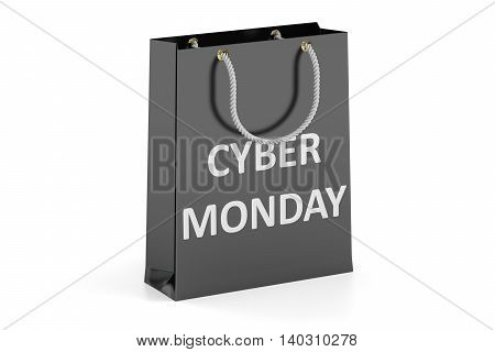Shopping bag Cyber Monday concept. 3D rendering isolated on white background