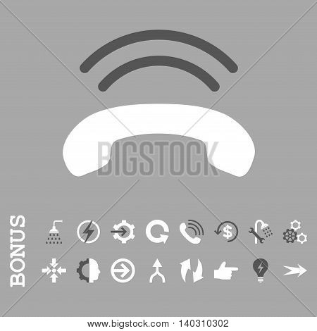 Phone Ring glyph bicolor icon. Image style is a flat pictogram symbol, dark gray and white colors, silver background.