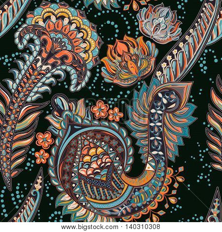 Paisley colorful seamless pattern. Vector indian backdrop