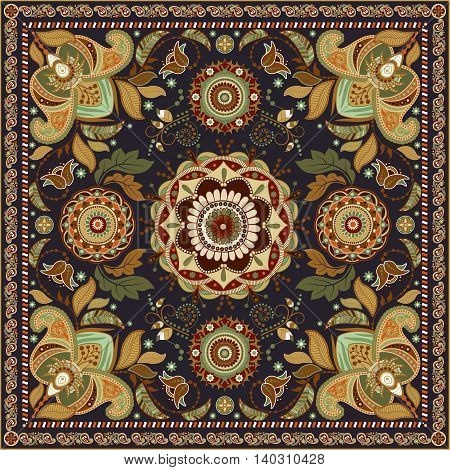 Colorful design for shawl. Paisley pattern. Vector backdrop