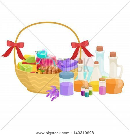 Bottles with organic essential aroma oil and soap bar set vector illustration