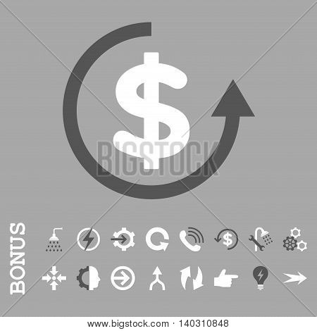 Refund glyph bicolor icon. Image style is a flat pictogram symbol, dark gray and white colors, silver background.