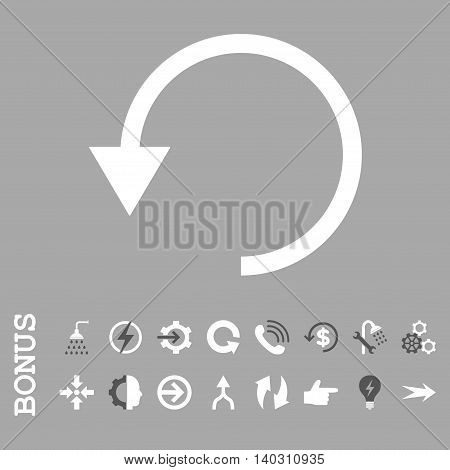 Rotate Ccw glyph bicolor icon. Image style is a flat iconic symbol, dark gray and white colors, silver background.