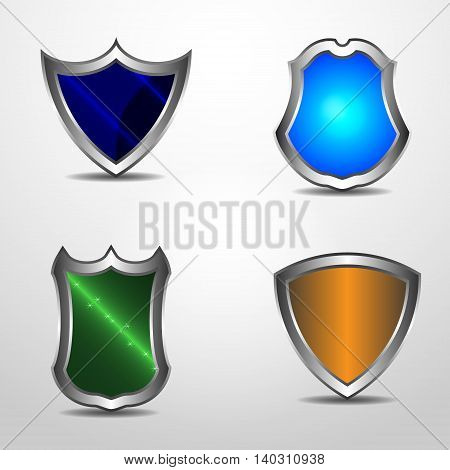 Vector realistic protect shield set with gradient and light effects