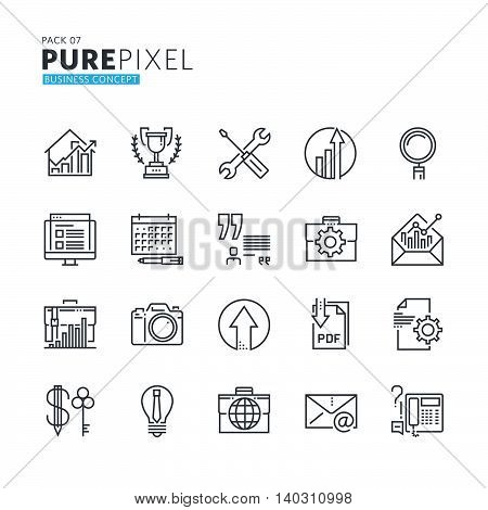 Set of modern thin line pixel perfect business concept icons. Premium quality icon collection for web design, mobile app, graphic design.