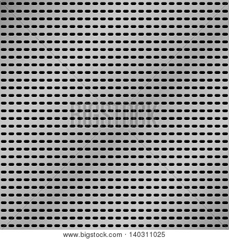 Vector realistic metallic grid background. Perforated metallic sheet.
