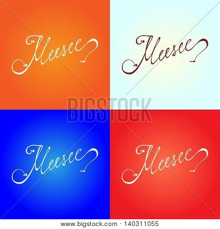 Hand drawn word music stylized under in ear headphones. Lettering set with different color background.