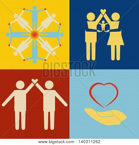 People support icon set. People with heart and baby standing together.