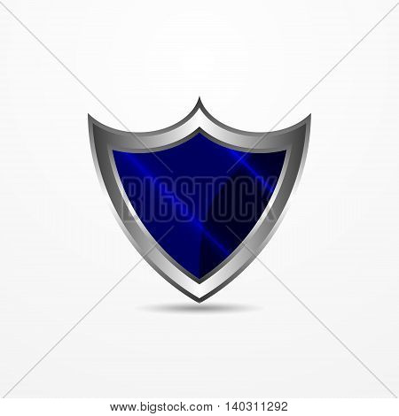 Vector realistic blue shield with beams of light inside.
