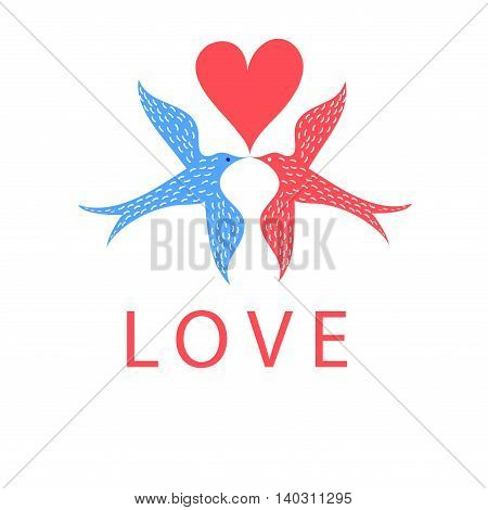 Greeting card with birds in love on a white background