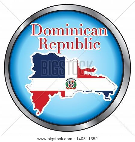 Vector Illustration for Dominican Republic Round Button.