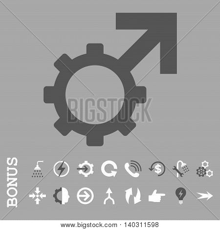 Technological Potence glyph bicolor icon. Image style is a flat pictogram symbol, dark gray and white colors, silver background.