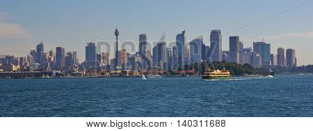 City centre of Sydney. Ferry heading towards Manly.
