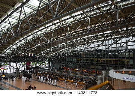 HAMBURG; GERMANY; JULY 27 2016: passenger terminal lobby roof and interior in the international airport Hamburg Fuhlsbüttel in Germany