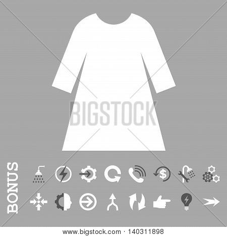 Woman Dress glyph bicolor icon. Image style is a flat iconic symbol, dark gray and white colors, silver background.