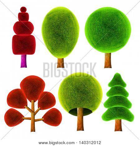 Tree. 3D illustration.