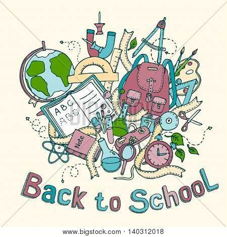 Back to school - Sketch colored illustration of education objects, doodles elements, hand drawn. Vector EPS10