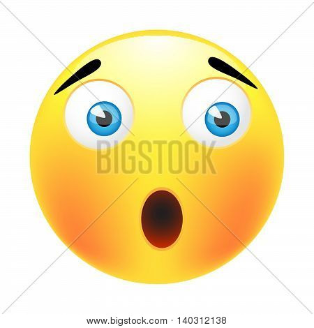 Surprised emoticon smile.Isolated illustration on white background