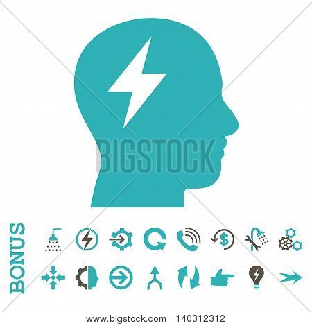 Brainstorming glyph bicolor icon. Image style is a flat pictogram symbol, grey and cyan colors, white background.