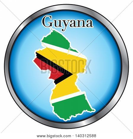 Vector Illustration for Guyana Round Button Flag Map.